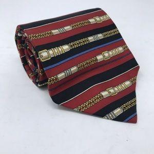 Paolo Gucci Necktie 100% Silk Red Striped